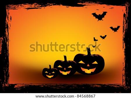 Halloween grunge poster. Vector illustration - stock vector