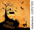 Halloween grunge vector background - stock photo