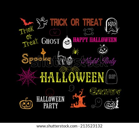 halloween hand drawn elements - stock vector