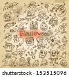 Halloween. Hand-drawn icons - stock vector