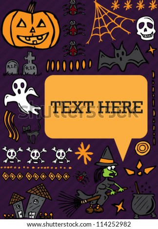 Halloween hand drawn icons speech bubble card - stock vector