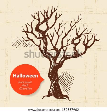 Halloween hand drawn illustration - stock vector