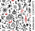 Halloween hand drawn pattern for your design - stock photo