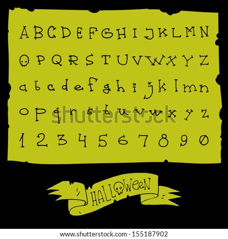 Halloween hand drawn vector full alphabet. The vector Roman font with numbers. - stock vector