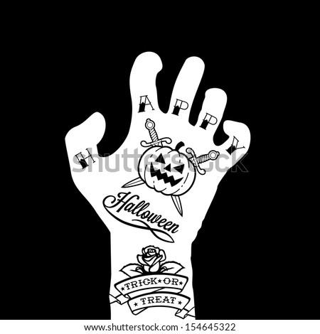 halloween hand with tattoo, pumpkin, rose - stock vector