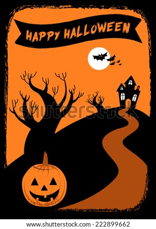 Halloween Haunted House Background - Vector Halloween haunted house background with Jack Oâ??Lantern.  Colors are global swatches for easy editing.  EPS 8 file. - stock vector