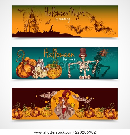 Halloween holiday celebration traditional colored spooky sketch banners horizontal set isolated vector illustration