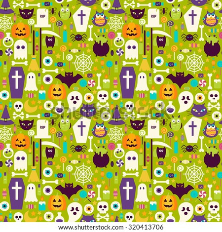 Halloween Holiday Elements Seamless Pattern. Flat Design Vector Seamless Texture Background. Halloween Party Template. Trick or Treat - stock vector
