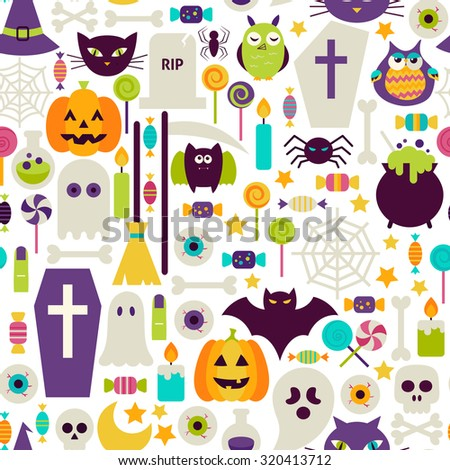 Halloween Holiday Objects Seamless Pattern. Flat Design Vector Seamless Texture Background. Halloween Party Template. Trick or Treat - stock vector