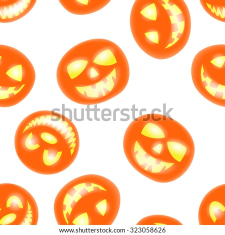 Halloween holiday seamless pattern with smiling pumpkins over white background for creating Halloween designs.  Vector illustration. - stock vector