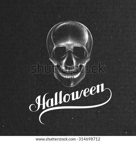 Halloween. Holiday Vector Illustration. Lettering Composition With Skull - stock vector