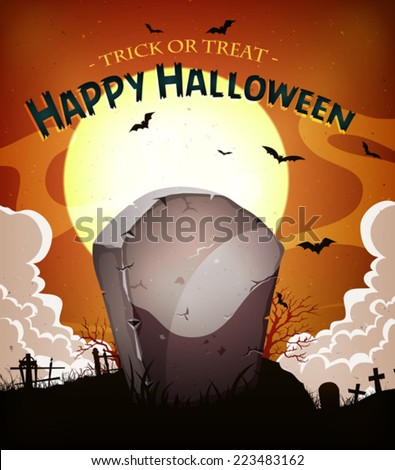 Halloween Holidays Background/ Illustration of a cartoon halloween holidays spooky horror background, with tombstone inside graveyard, fog, full moon and bats - stock vector