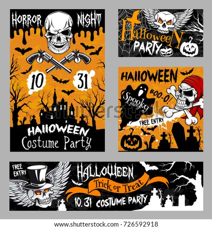 halloween horror night party banner template with scary skull halloween pumpkin lantern ghost and