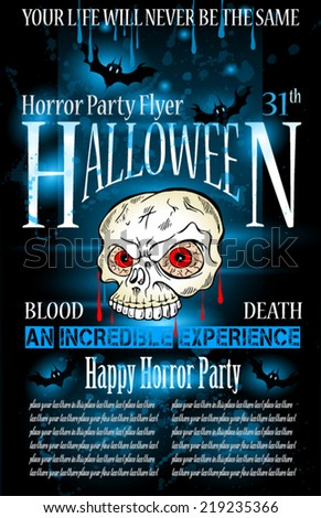 Halloween Horror Party flyer with a lot of themed elements and blood drops, bats, pumpkins and so over. - stock vector