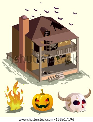 halloween house. haunted house isometric vector.with pumpkins and halloween stuff - stock vector