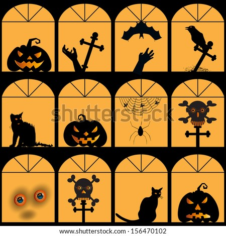 Halloween house with pumpkin, skull, cat, spider, web, ghost silhouette, seamless background - stock vector