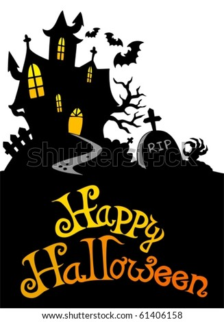 Halloween house with sign 3 - vector illustration. - stock vector