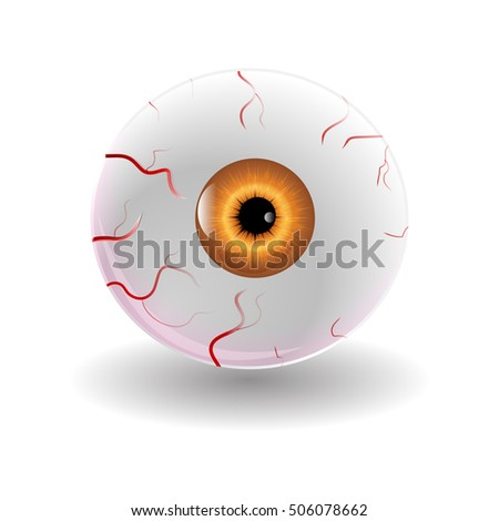 Halloween Human Eye, Eyeball with Veins Icon Symbol Design. Vector illustration isolated on white background