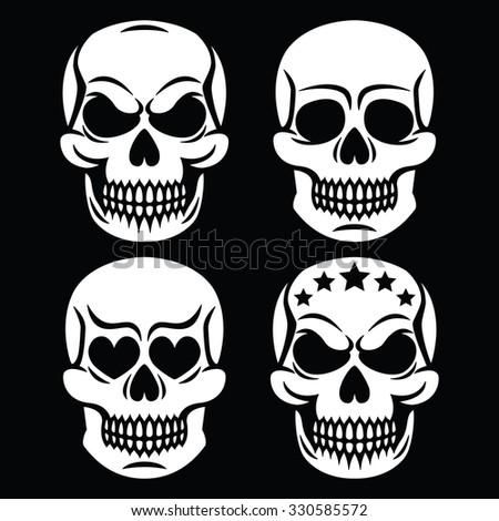 Halloween human skull white design - death, Day of the Dead - stock vector