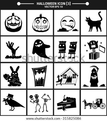 Halloween icon collection version 03. vector Illustration,Graphic Design - stock vector