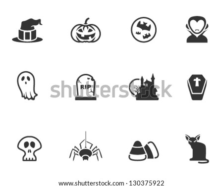 Halloween icon series in black and white - stock vector