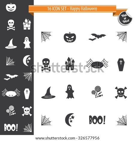 Halloween Icon Set - 16 ICON SET - stock vector