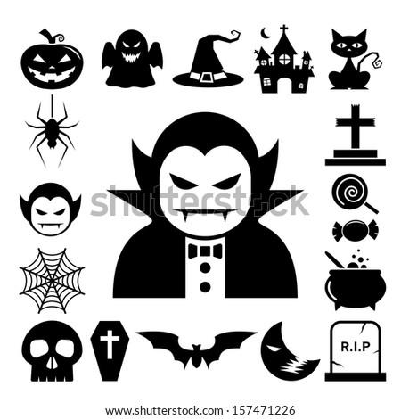 Halloween icon set.Illustrator eps10 - stock vector