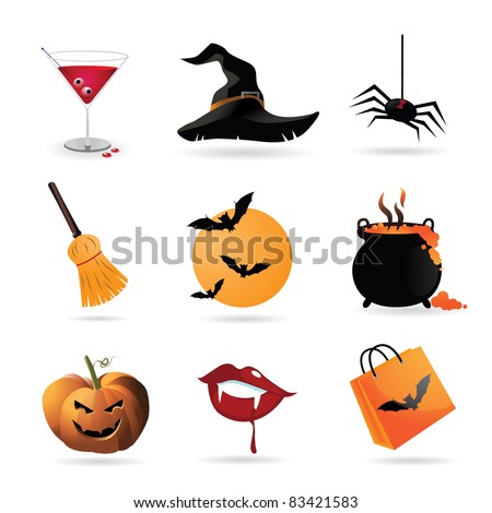 Halloween Icons A collection of nine fun Halloween icons. Grouped for easy editing. Vector file. - stock vector
