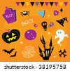 Halloween icons and design elements. Retro halloween icons and graphic elements isolated on orange background. Vector Illustration. - stock vector