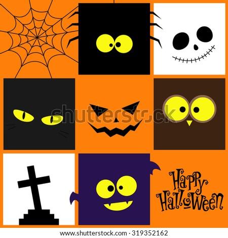 Halloween icons design (pumpkin, ghost, bat, owl, cat, spider, web, tombstone). Vector illustration - stock vector