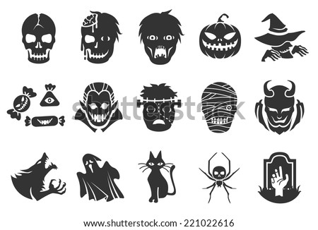 Halloween icons - illustratiion - stock vector