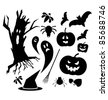 Halloween  icons in black color isolated on white - stock vector