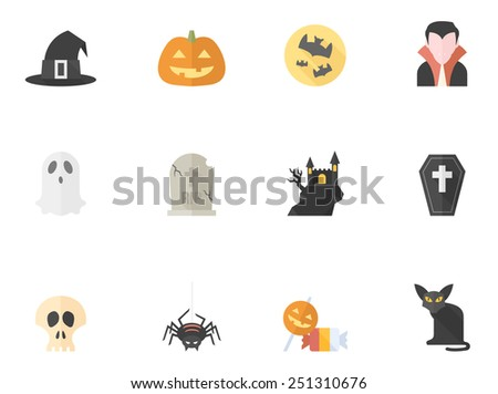 Halloween icons in flat color style - stock vector