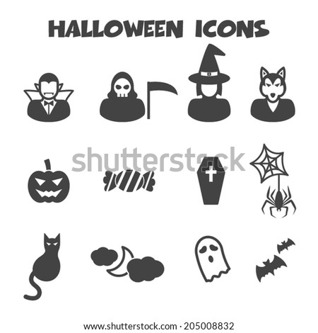halloween icons, mono vector symbols - stock vector