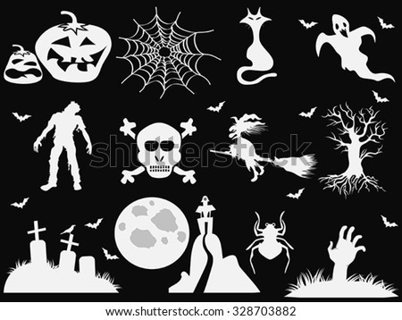 Halloween icons on black background - stock vector
