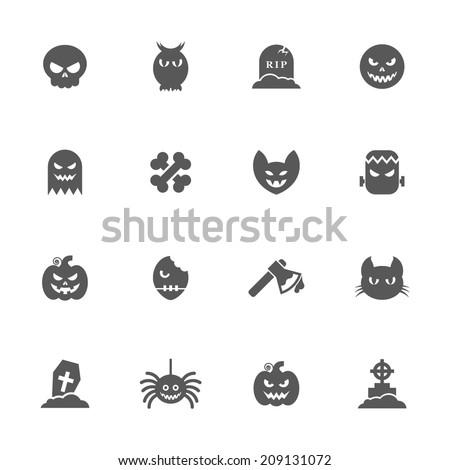 Halloween icons set. - stock vector
