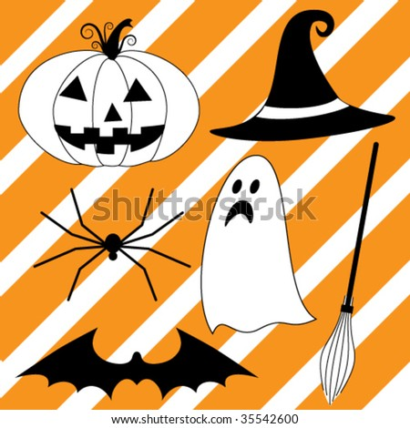 Halloween icons set - stock vector