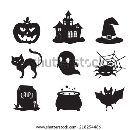 Halloween icons set / Black&White / - stock vector