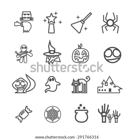 Halloween icons set, Vector