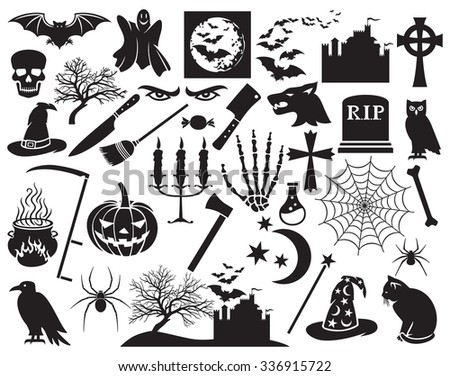 Halloween icons set (vector horror icons) - stock vector