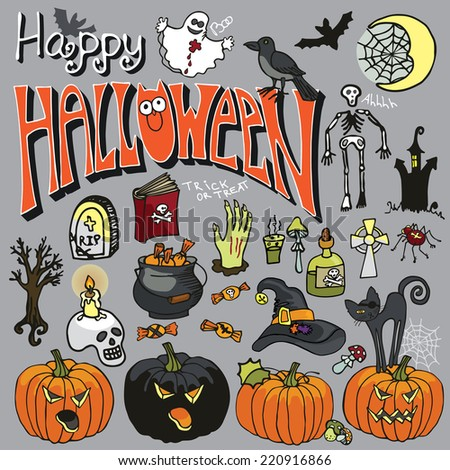 Halloween icons,text, elements set.Halloween isolated items: boiler,candy,cat,pumpkins,bats,web,moon,poison,hand,skeletal,tombstone,wing,Ghost,skull,book,spider, Raven,text. Doodle vector illustration - stock vector