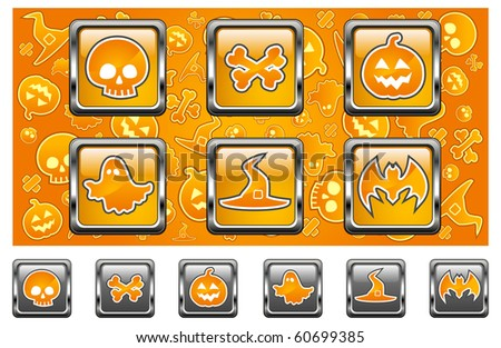 Halloween icons with skull, pumpkin, bone, hat, bat and ghost in yellow, vector illustratiom