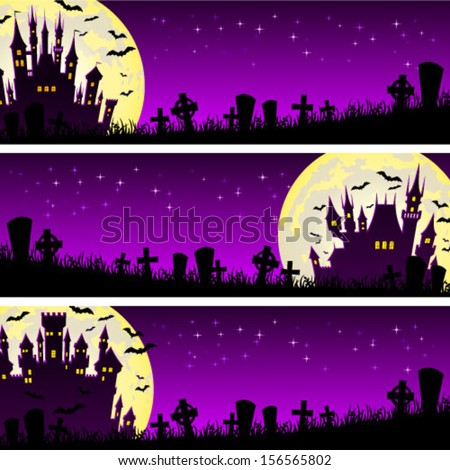 Halloween illustration banner with castle and bats on full moon background - stock vector
