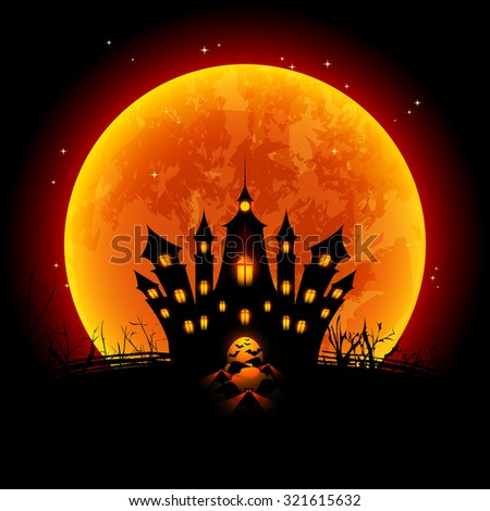 Halloween Illustration Blood Moon and Haunted Castle - stock vector