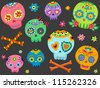 Halloween Illustration Featuring Colorful Sugar Skulls - stock vector
