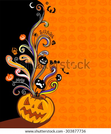 Halloween illustration for banner and invite card - stock vector