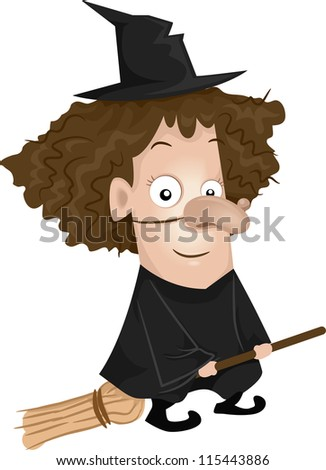 Halloween Illustration of a Girl Dressed as a Witch Riding a Broomstick - stock vector