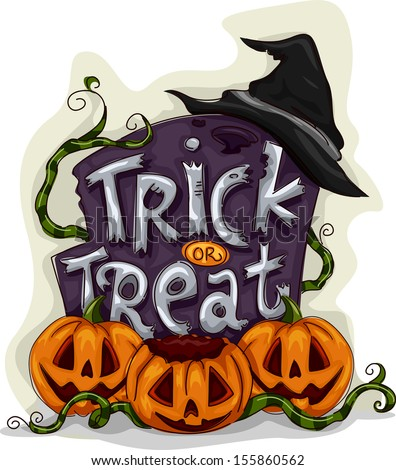 Halloween Illustration of a Tombstone with Trick or Treat Written on It - stock vector