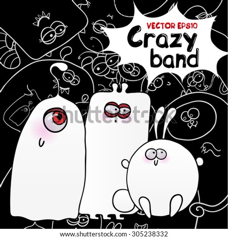 Halloween illustration of different monsters, bacteria, germs, aliens, devils and ghosts. - stock vector