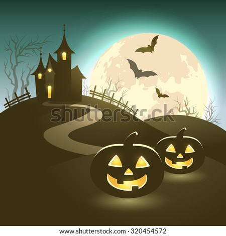 Halloween illustration of mysterious night landscape with castle, full moon and pumpkins. Template for your design. Vector EPS 10 - stock vector